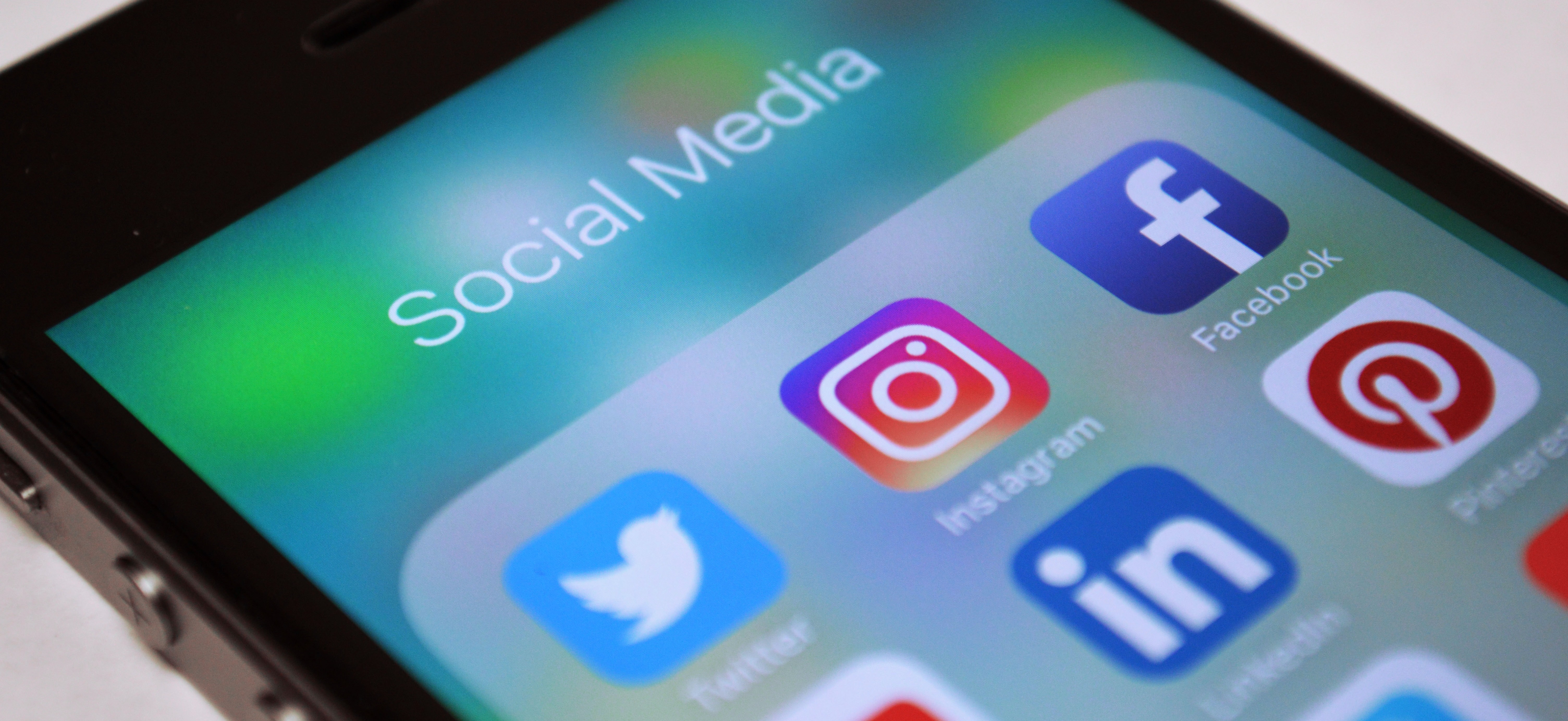 Social Media icons on mobile screen